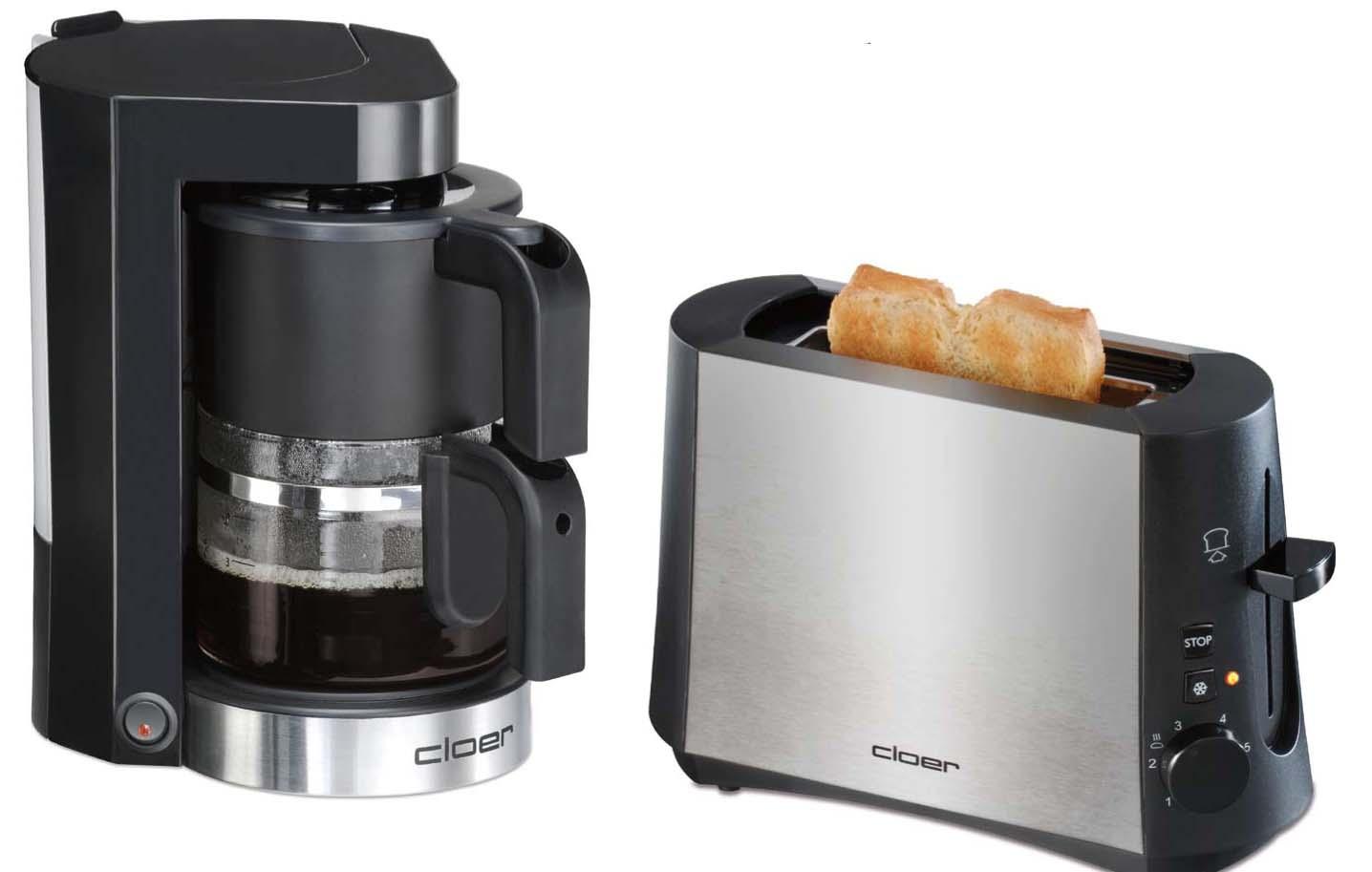 Cloer 3890 Toaster und Cloer 5990 Filterkaffeeautomat - Für\'s Glück ...