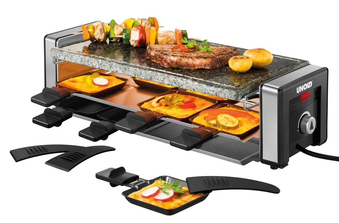 unold d lice raclette gleichzeitiges raclettieren und grillen. Black Bedroom Furniture Sets. Home Design Ideas