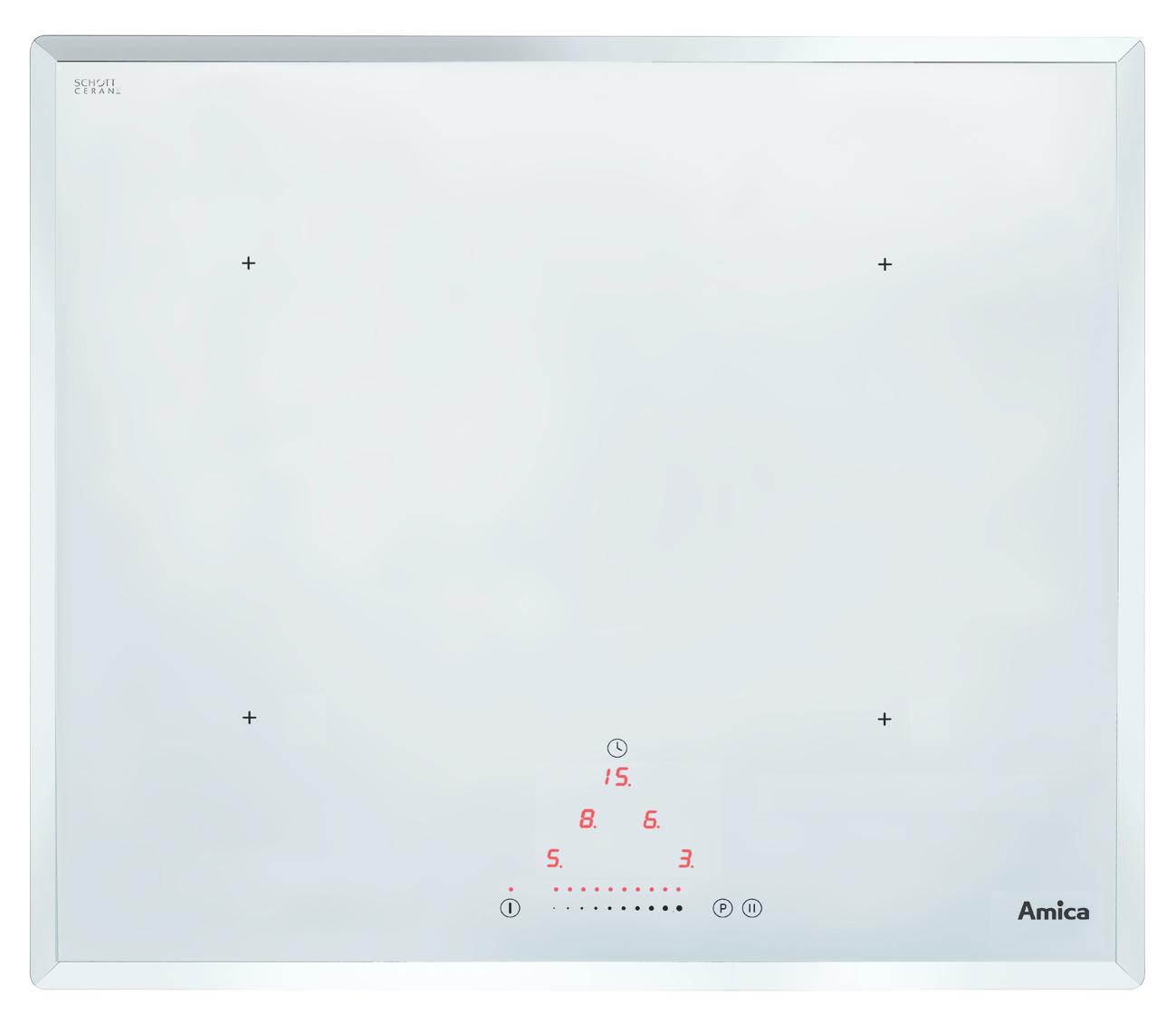 Amica induktionskochfeld kmi 13310 w designmodell in weiss for Amica induktionskochfeld