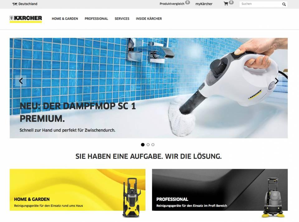 Die Webseite von Kärcher hat einen neuen Anstrich erhalten.