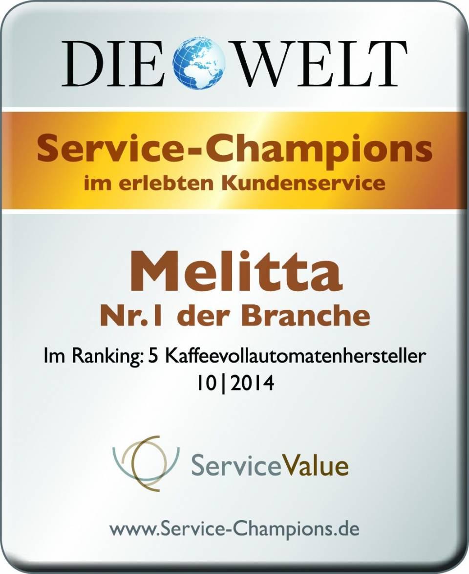 """Bei """"Die Welt"""" ist Melitta Service Champion und damit die Nr. 1 der Branche"""
