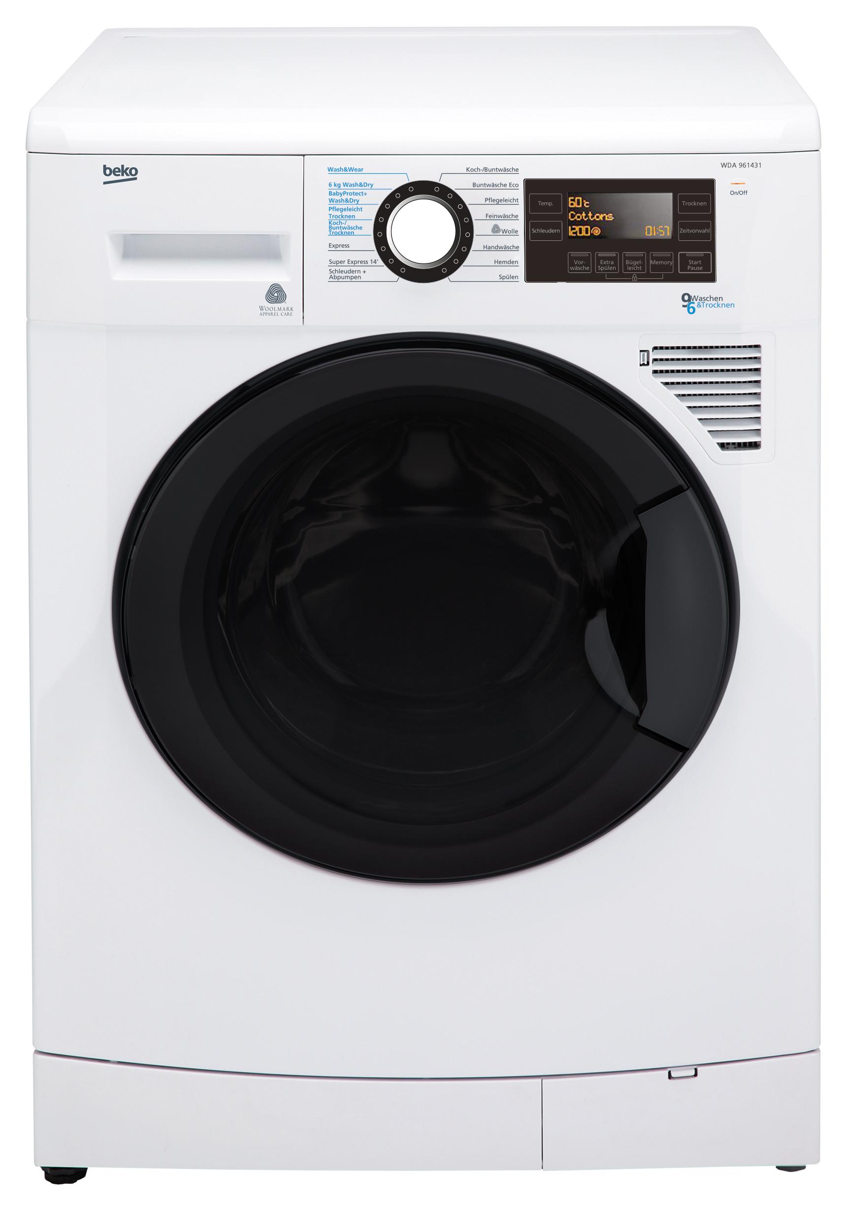 beko waschtrockner wda 961431 9 kilo waschen 6 kilo trocknen. Black Bedroom Furniture Sets. Home Design Ideas