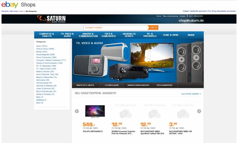 Saturn kommt bei eBay auf mehr als 41.000 Artikel.