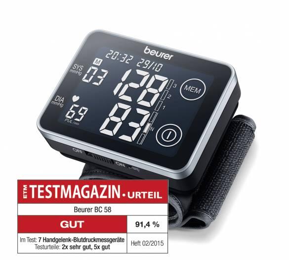 Vorne mit dabei: Handgelenk-Blutdruckmessgerät BC 58 von Beurer.