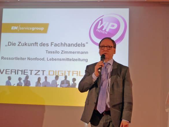 Chancen des Fachhandels. Zu diesem Thema referierte Tassilo Zimmermann von der Lebensmittelzeitung auf der VIP Preview am Vorabend der EK Live.