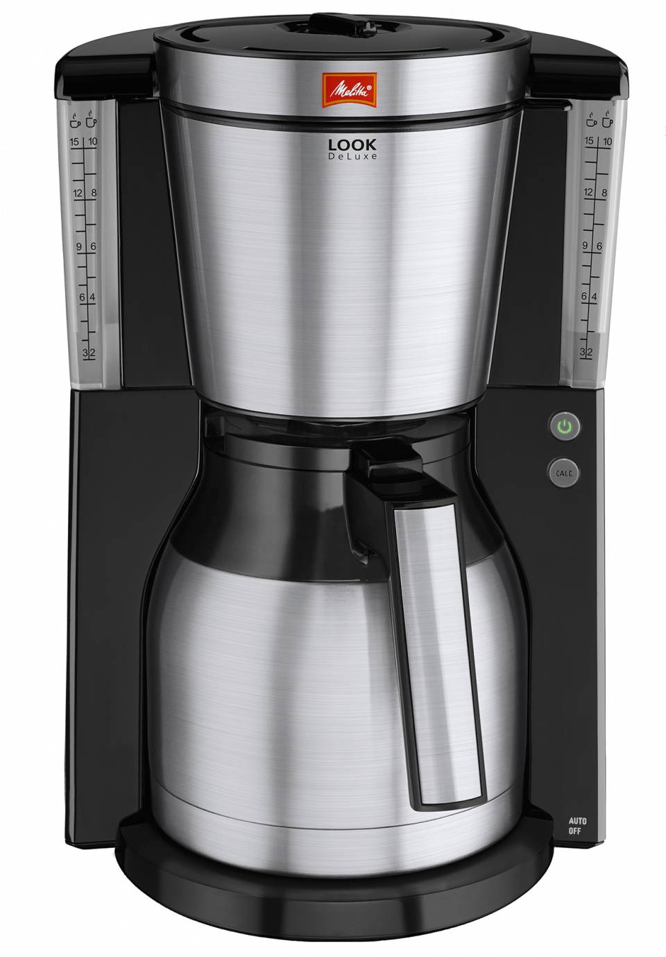 Melitta Kaffeemaschine Look Therm DeLuxe mit Edelstahl-Blende an Filterhalter, Kannengriff und Filterdeckel.