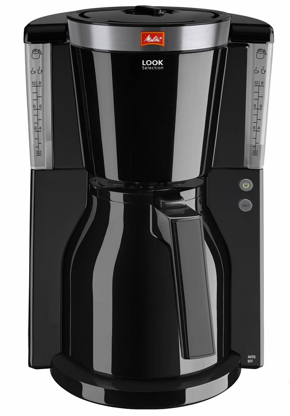 Melitta Kaffeemaschine Look Therm Selection mit Edelstahl-Blende am Filterdeckel.