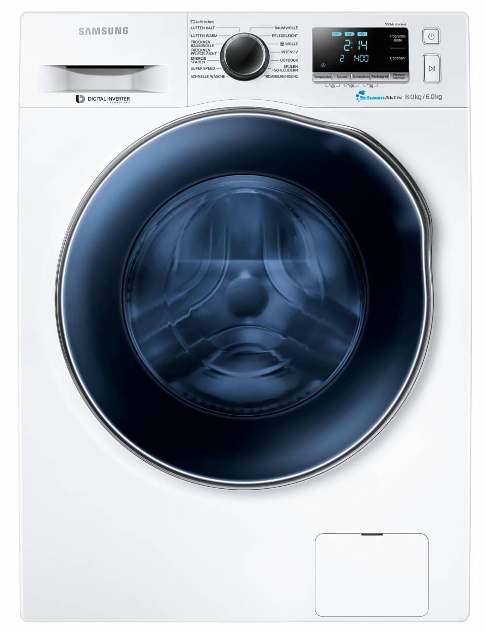 Samsung Waschtrockner WD80J64 für 8 kg Waschen und 6 kg Trocknen.