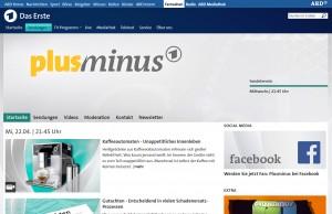 Screenshot plusminus Homepage