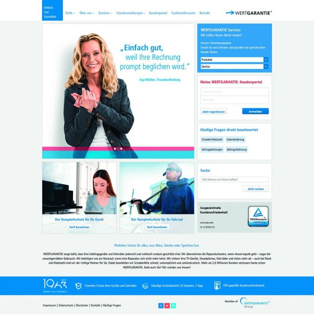 Die verlängerte Theke der Wertgarantie: Ziel ist, Online- und Fachmarkt-Kunden über einen möglichen Online-Abschluss von Garantie-Dienstleistungen in den stationären Handel zurück zu führen.