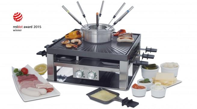 """Alle an den Tisch: Der """"Combi-Grill 3 in 1"""" von Solis ist Grill, Raclette und Fondue zugleich."""