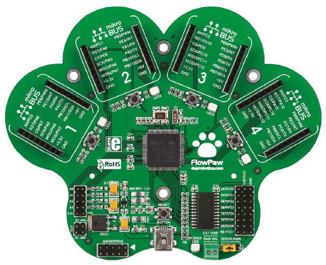 """Die Platine """"FlowPaw"""" ist Bestandteil des Experimentierpaket """"Internet der Dinge""""."""