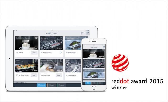 """Die Home Connect App der BSH wurde mit dem """"Red Dot Award: Communication Design 2015"""" ausgezeichnet."""