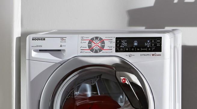 """So wäscht man künftig: Die """"Wizard""""-Funktion der Waschmaschine von Hoover unterstützt die Benutzer bei der Auswahl der besten Programme nach den jeweiligen Anforderungen."""