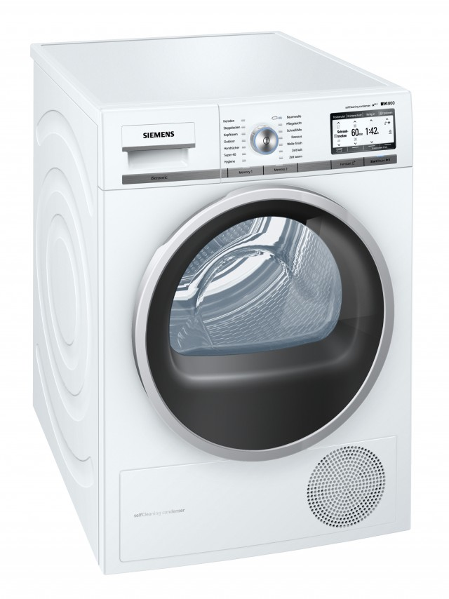 Siemens Waschtrockner iQ800 WT7YH7W0 mit Self-CleaningCondenser.