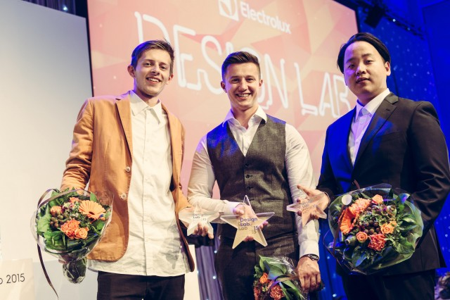 Die drei Gewinner des Electrolux Design Lab stellten sich anlässlich der Gala in Helsinki dem Fotografen.