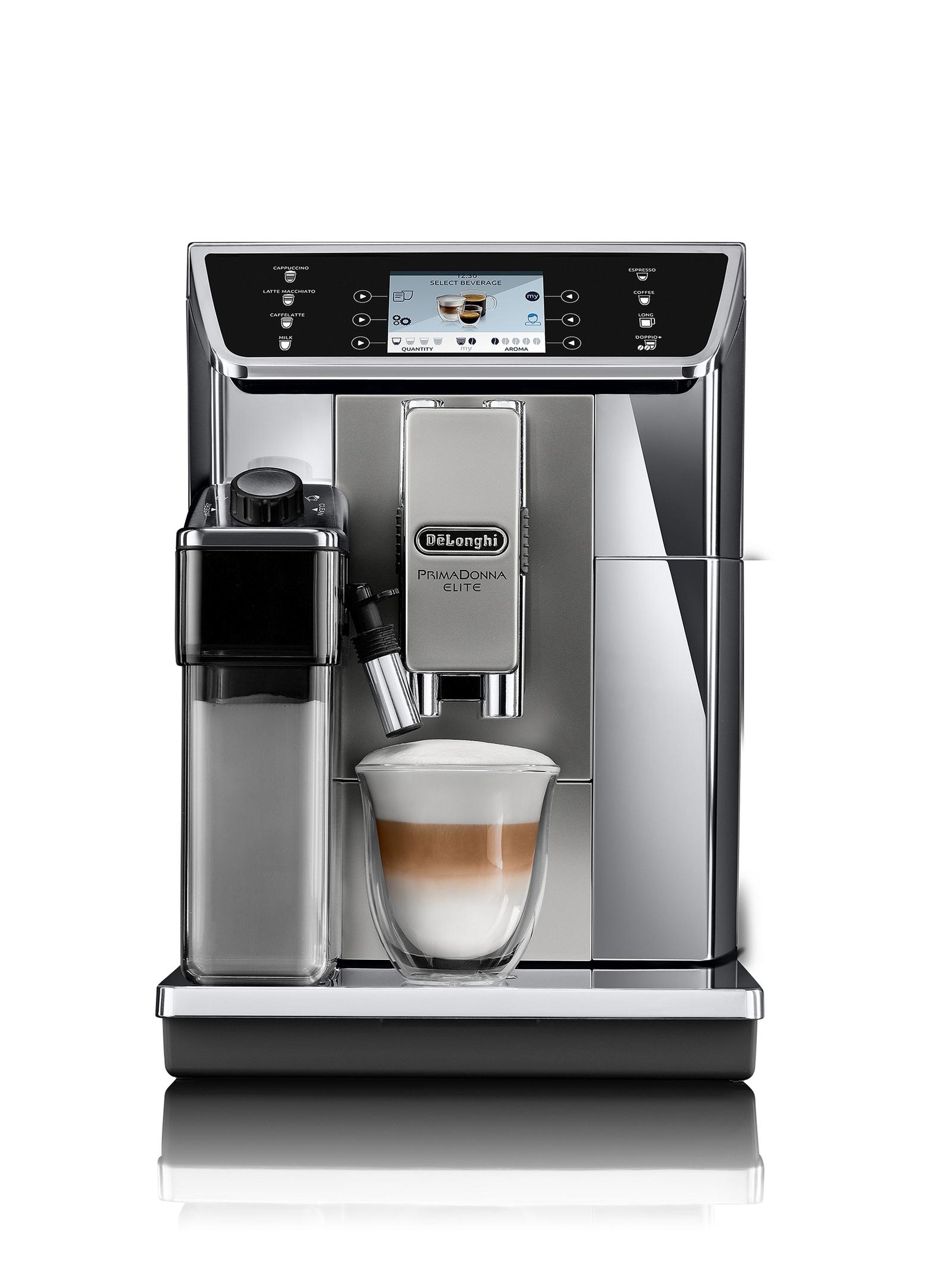 Sendet eine frohe Botschaft an alle Kaffee-Liebhaber: PrimaDonna Elite, das Top-Modell von De'Longhi.