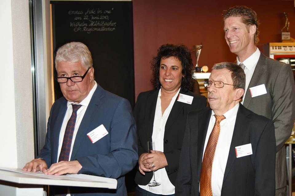 Sichern das Unternehmen Hama über Stiftungen ab (v.l.): Christoph Thomas sowie Elena, Rudolph und Oliver Hanke.