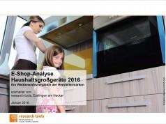 "Deckblatt Studie ""E-Shop-Analyse Haushaltsgroßgeräte 2016"""