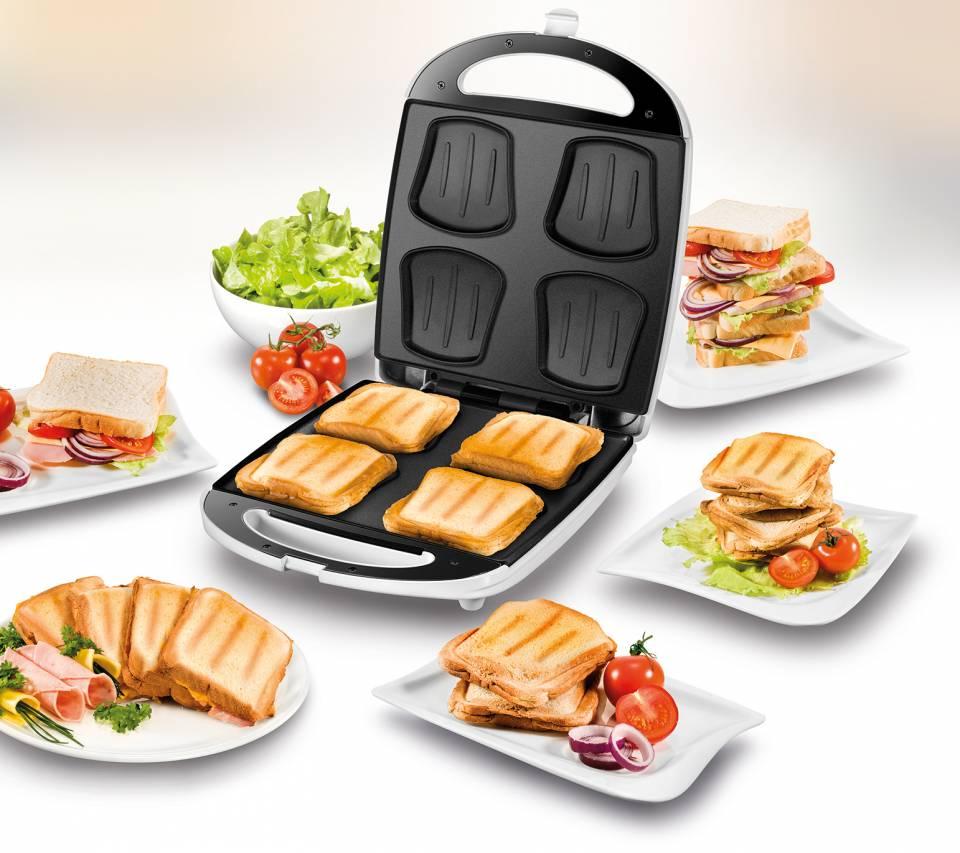 Unold Sandwich Toaster Quadro bereitet 4 Sandwiches in einem Arbeitsgang.