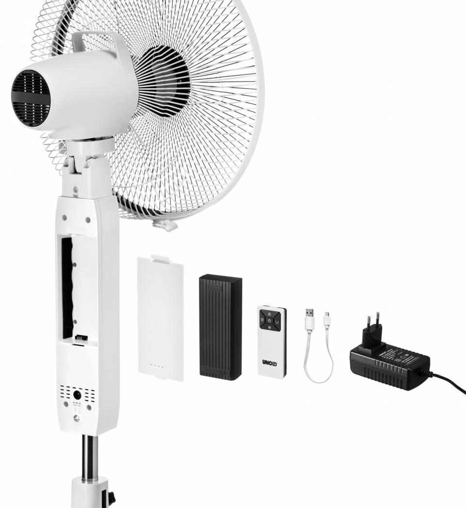 Unold Standventilator Akku mit Akkubetrieb und USB-Aufladung.