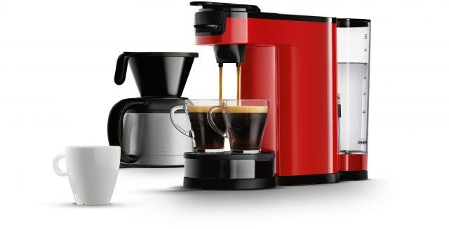 Die Philips Senseo Switch Kaffemaschine in Rot