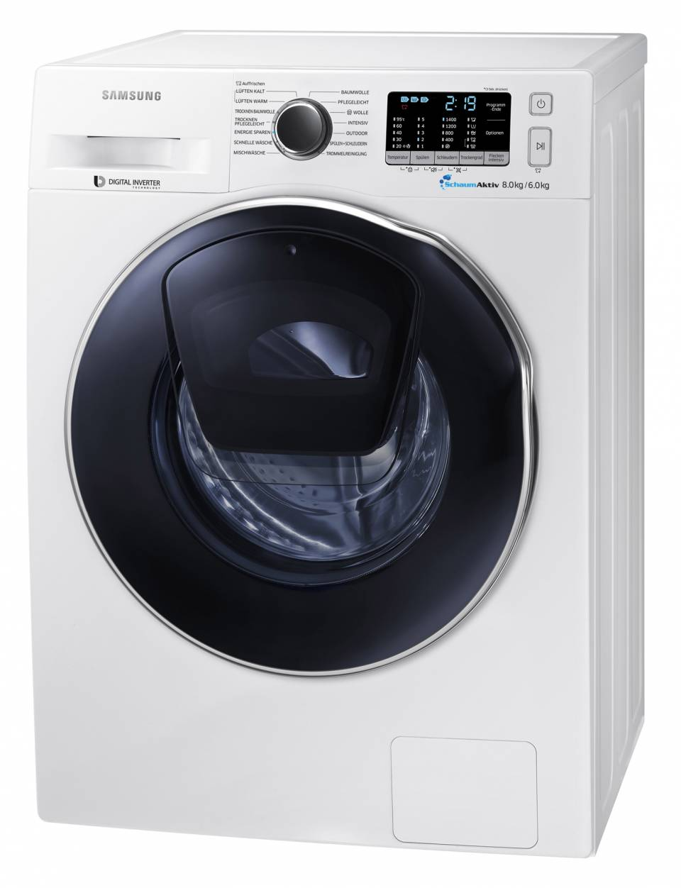 Samsung Waschtrockner AddWash WD5500 mit Zusatztür im Bullauge.