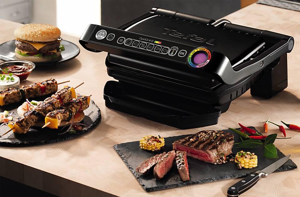 Tefal Grill OptiGrill Snacking & Baking GC 7148 mit 6 voreingestellten Grillprogrammen.