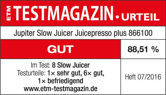 Testsiegel ETM Juicepresso plus