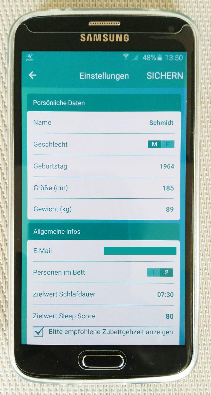 Persönliche Daten sind wichtig für die korrekte Funktion und Nutzung der App