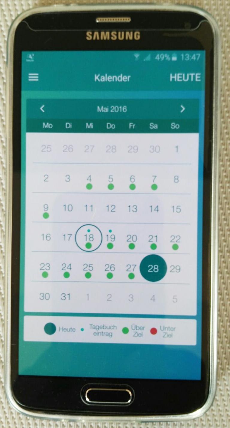 Der Kalender zeigt gute und schlechte Schlaftage im Überblick