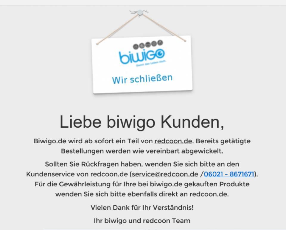 Der MSH-Onlineshop für Hausgeräte Biwigo.de ist off.