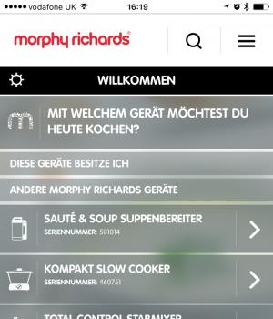 Screenshot Cook & Create App von Morphy Richards