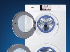Haier Waschtrockner Duo Dry mit zwei Trommeln in einem Gerät.