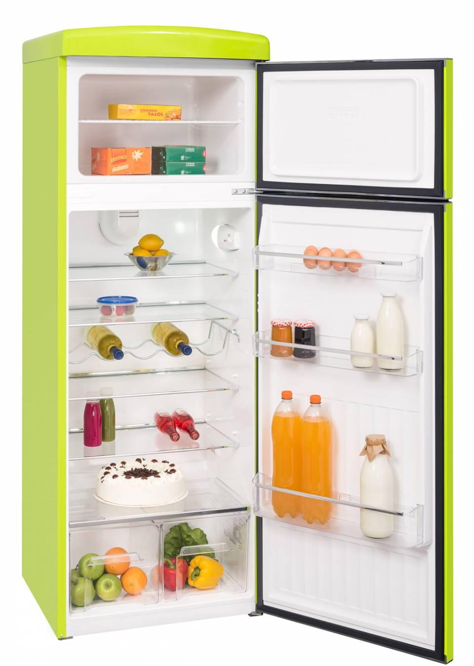 Der Nutzinhalt der Kühl-Gefrierkombination RKGC 25060 RD A++beträgt im Kühlfach 256 Liter, im Gefrierfach 56 Liter.