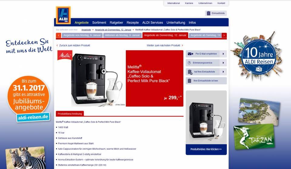Kaffee für kleines Geld: Caffeo Solo & Perfect Milk Pure Black von Melitta bei Aldi Süd.