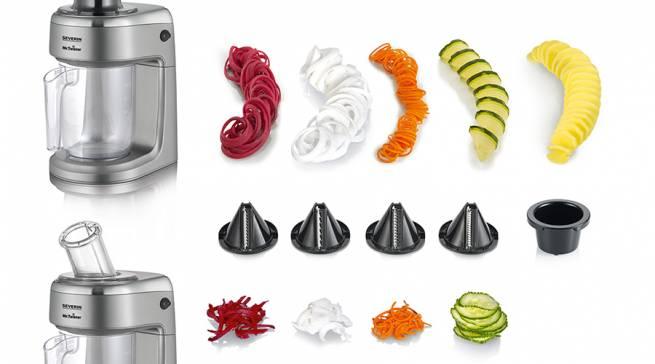 """""""Mr. Twister"""" eignet sich für kleine wie große Mengen und verspricht Gemüse-Nudeln, Rohkostsalate, Kartoffel-Spiralen und kreative Dekorationen auf Knopfdruck."""