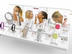 Beurer: Neues Premium Wellness Konzept mit beleuchtetem Präsentationsdisplay.