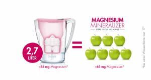 2,7 Liter des Magnesium mineralisierten Wassers aus dem BWT Magnesium Mineraliser haben den gleichen Magnesiumgehalt wie sieben Äpfel. (Bei einer Wasserhärte von 17° dH)