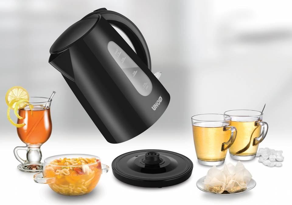Unold Wasserkocher Easy Black mit 1.7 Liter Volumen.