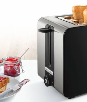 Bosch Toaster TAT7203 mit Aufknusperfunktion.