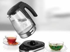 Unold Wasserkocher Glas Electronic Black mit beleuchtetem Innenraum.