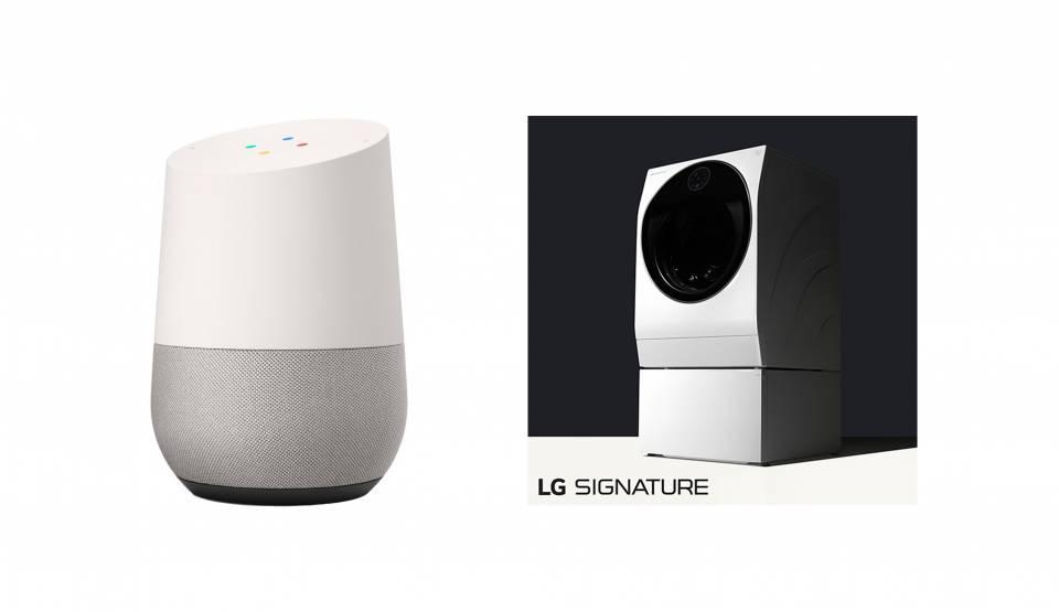 Füreinander bestimmt: Google Home und TwinWash aus der LG Signature-Reihe.