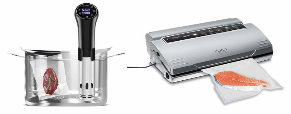 Caso SousVide-Set Design mit SousVide-Stick und Vakuumierer.