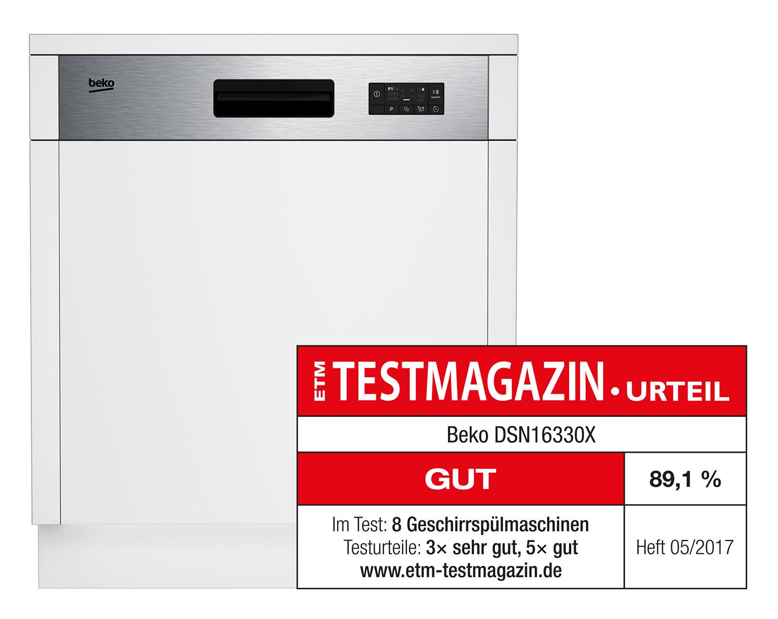 """Praktisch und effizient: Das ETM Testmagazin bewertet den Geschirrspüler DSN16330X von Beko mit dem Gesamtergebnis """"Gut""""."""