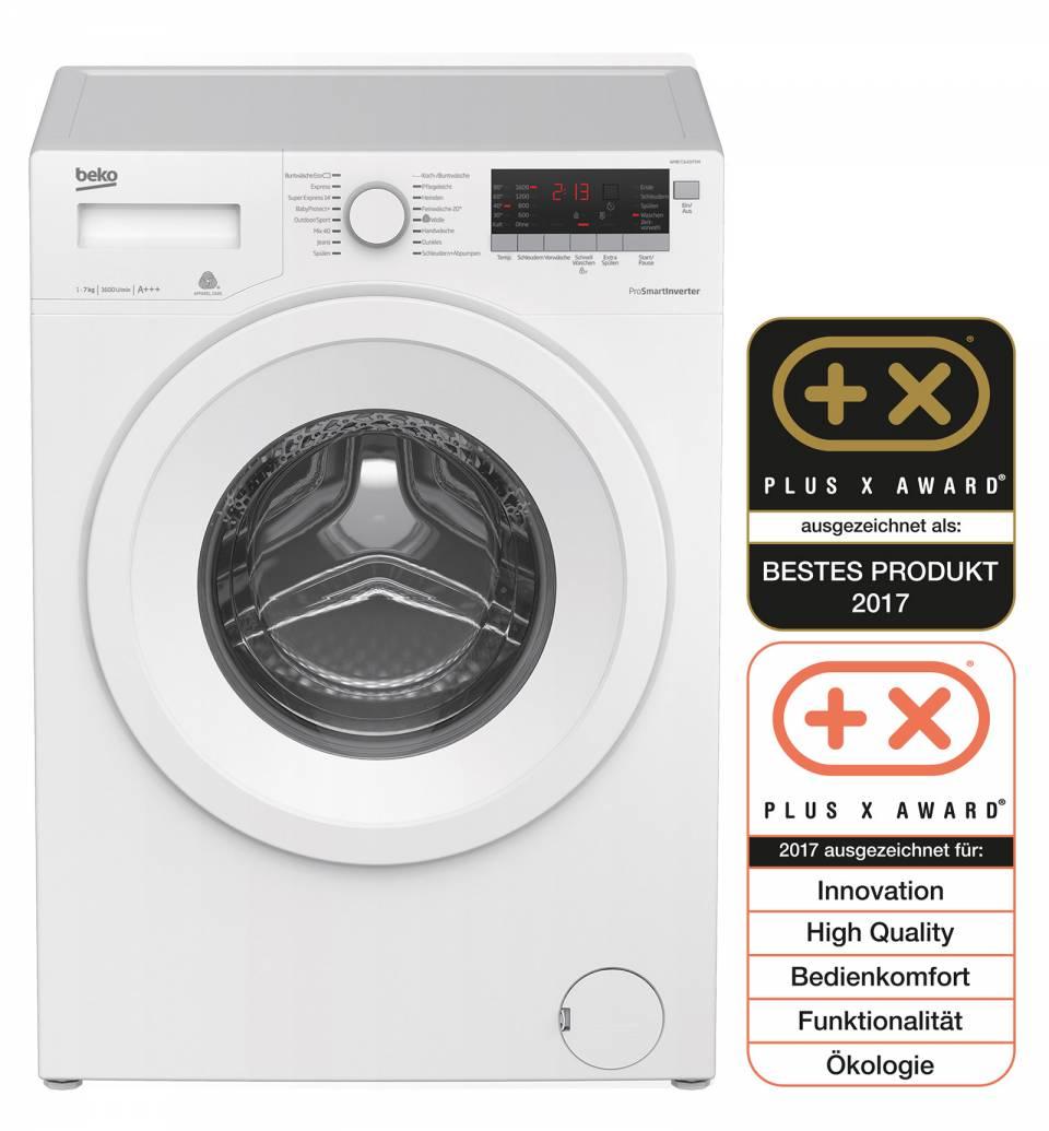 """Die Waschmaschine WMB 71643 PTM von Beko überzeugt beim """"Plus X Award"""" in fünf Kategorien und konnte damit die Auszeichnung """"Bestes Produkt des Jahres 2017"""" für sich gewinnen."""