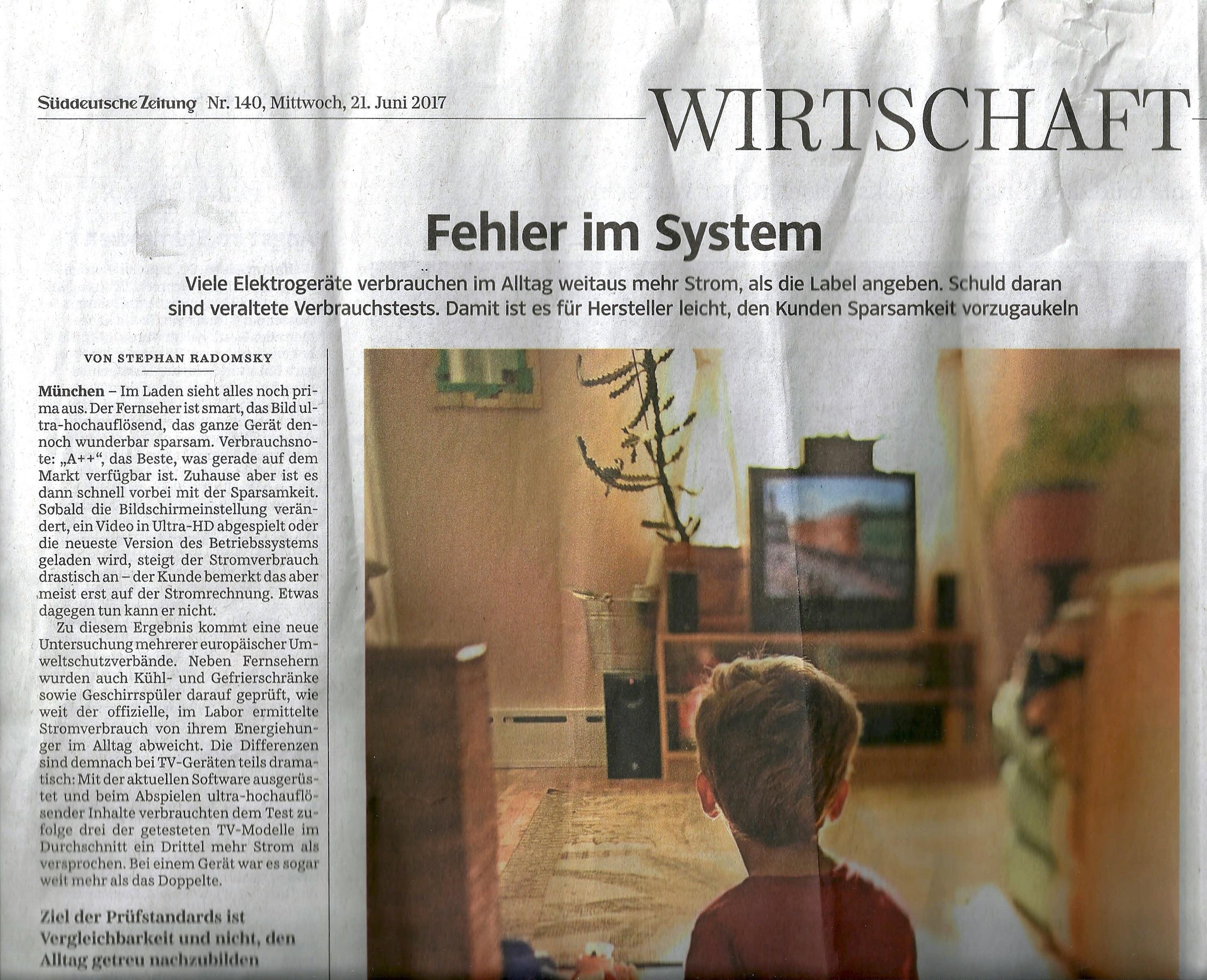 Scan Süddeutsche Zeitung 21. Juni 2017