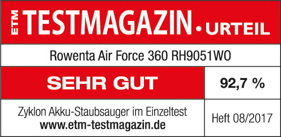 Testsiegel ETM Testmagazin Rowenta Air Force 360 RH9051WO