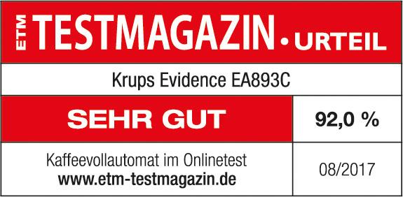 Testsiegel ETM Testmagazin Krups Evidence EA893C