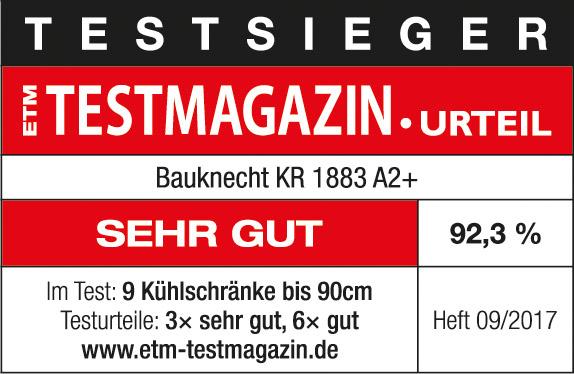 Testsiegel ETM Testmagazin Baunkecht KR 1883 A2+